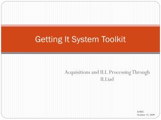 Getting It System Toolkit