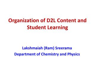 Organization of D2L Content and Student Learning