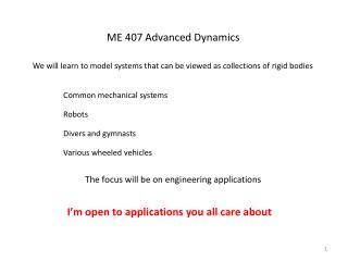 ME 407 Advanced Dynamics
