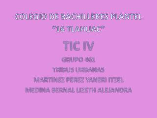 "COLEGIO DE BACHILLERES PLANTEL  ""16 TLAHUAC"" TIC IV GRUPO  461 TRIBUS  URBANAS"