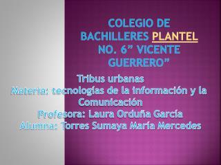 """Colegio de bachilleres  plantel  no. 6"""" Vicente guerrero"""""""