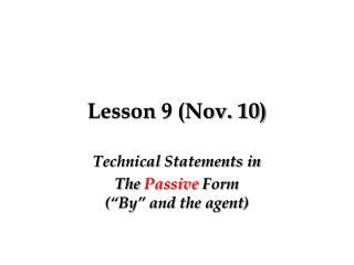 Lesson 9 (Nov. 10)