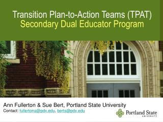 Transition Plan-to-Action Teams (TPAT) Secondary Dual Educator Program