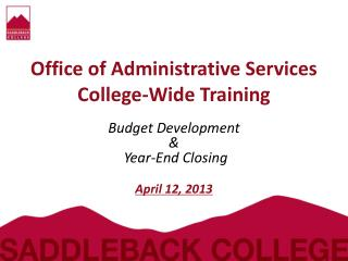 Office  of  Administrative Services  College-Wide  Training