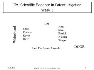 IP:  Scientific  Evidence  in  Patent  Litigation Week 3