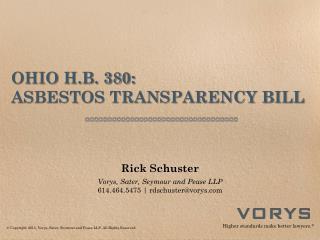OHIO H.B. 380: ASBESTOS TRANSPARENCY BILL