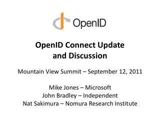 OpenID  Connect Update and Discussion