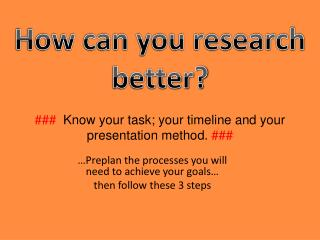 ###   Know your task; your timeline and your presentation method.  ###