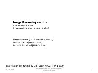 Image  Processing  on Line A new  way  to  publish ?