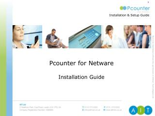 Pcounter for Netware  Installation Guide