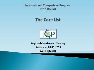 International Comparison Program 2011 Round The Core List