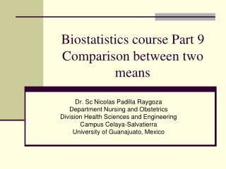 Biostatistics course Part 9 Comparison between two means