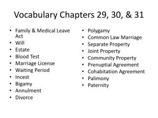 Vocabulary Chapters 29, 30, & 31