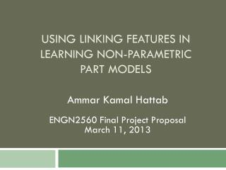 Using linking features in learning  Non-parametric part  models