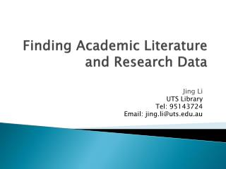 Finding Academic Literature and Research Data