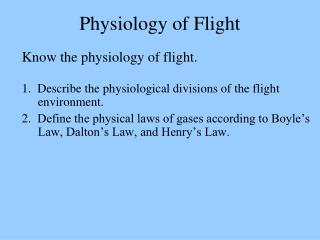 Physiology of Flight