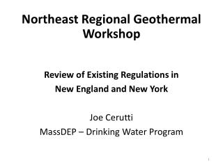 Northeast Regional Geothermal Workshop