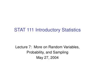 STAT 111 Introductory Statistics