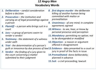 1 2 Angry Men  Vocabulary Words
