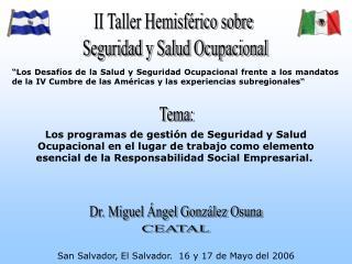 Los programas de gesti n de Seguridad y Salud Ocupacional en el lugar de trabajo como elemento esencial de la Responsabi