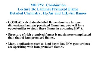 ME 525:  Combustion Lecture 16: Laminar Premixed Flame
