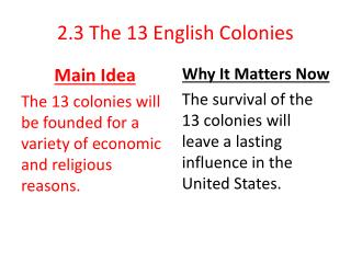 2.3 The 13 English Colonies