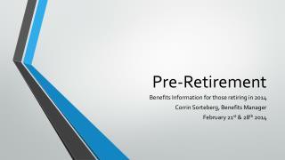 Pre-Retirement