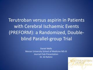Daniel Wells  Mercer University School of Medicine MS-III Journal Club Presentation