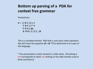 Bottom up parsing of a  PDA for context free grammar Productions: P =   E    T | E + T