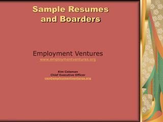Sample Resumes  and Boarders