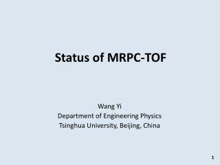 Status of MRPC-TOF