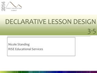 Declarative Lesson Design  3-5