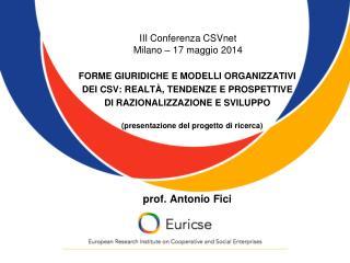 III Conferenza CSVnet  Milano – 17 maggio 2014