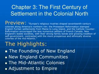 Chapter 3: The First Century of Settlement in the Colonial North