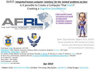 Steve �Capt  Amerika � Rogers, Ph.D., SES/ST Senior Scientist for ATR and Sensor Fusion