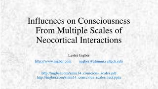 Influences on Consciousness  F rom Multiple  S cales of Neocortical Interactions