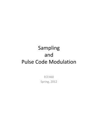 Sampling  and  Pulse Code Modulation