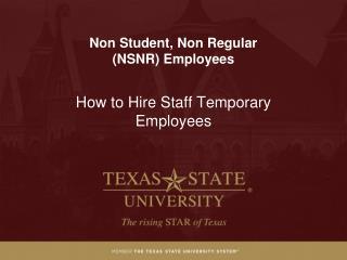 Non Student, Non Regular   ( NSNR) Employees