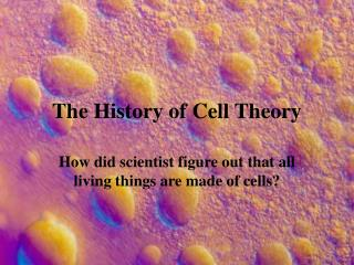 The History of Cell Theory
