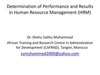 Determination of Performance and Results in Human Resource Management (HRM)