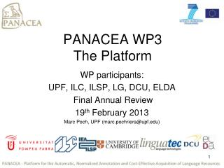 PANACEA WP3  The Platform