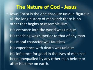 The Nature of God - Jesus