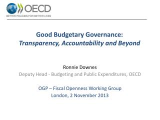 Good Budgetary Governance: Transparency , Accountability and  Beyond