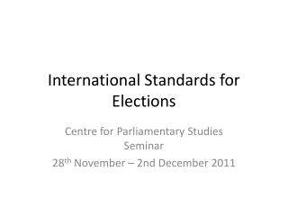International Standards for Elections