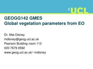 GEOGG142 GMES Global vegetation parameters from EO