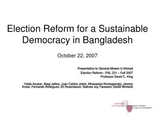 Election Reform for a Sustainable Democracy in Bangladesh