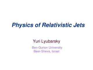 Physics of Relativistic Jets