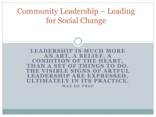 Community Leadership – Leading for Social Change