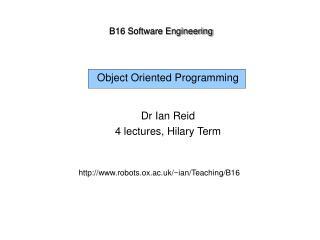 B16 Software Engineering