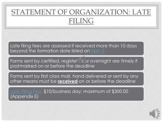 Statement of Organization: Late Filing